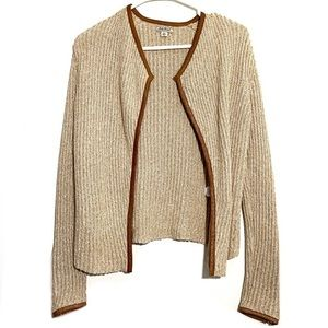 Lucky Brand Chunky Knit Leather Trim Open Cardigan